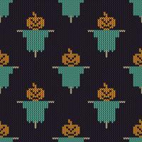 Texture de tricot sans couture avec épouvantail de potiron