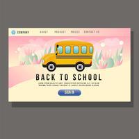 page d'atterrissage de l'éducation avec autobus scolaire vecteur
