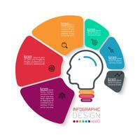 Six cercles avec infographie icône affaires vecteur