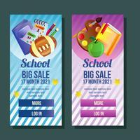 bannière d'école verticale avec vente d'objets scolaires