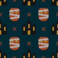 Texture de tricot sans couture avec monstre et château