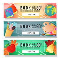 bannière de vente de livre avec des objets scolaires