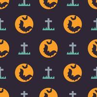 Modèle sans couture halloween mignon avec des chauves-souris et une pierre tombale vecteur