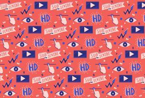 médias vidéo de fond dessinés à la main des médias sociaux vecteur