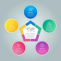 concept d'entreprise de conception infographique avec 5 options, pièces ou processus.