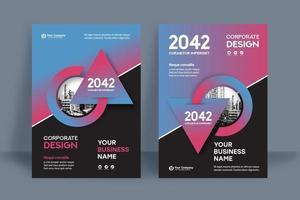 Modèle de conception combinée de la couverture du livre d'affaires fond bleu et rouge de la ville vecteur
