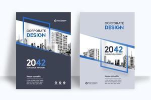 Modèle de conception de couverture de livre d'affaires fond de ville verticale vecteur