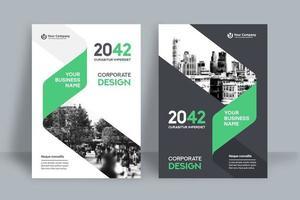 Modèle de conception de couverture de livre d'affaires fond ville verte partielle vecteur
