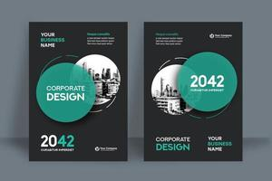 Modèle de conception de couverture de livre de livre de fond de ville cyan circulaire