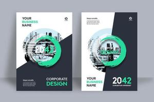 Modèle de conception de couverture de livre d'affaires fond de ville circulaire verte en couches
