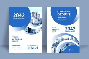 Modèle de conception de couverture de livre d'affaires circulaire ville bleue fond