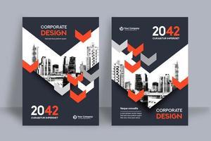 Modèle de conception de couverture de livre d'affaires fond de ville de flèche rouge et gris