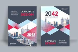 Modèle de conception de couverture de livre d'affaires fond bleu et rouge ville mélangée