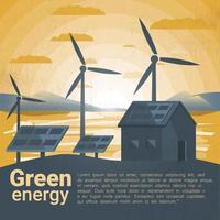 Paysage avec des moulins à vent et des panneaux solaires
