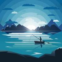 Illustration de paysage avec un seul pêcheur dans le lac