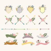 Collection d'objets de bouquet floral vecteur