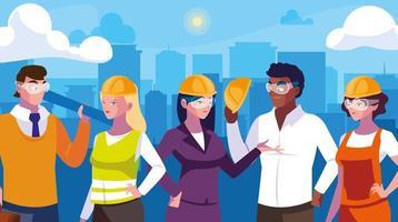 Travailleurs professionnels parlant