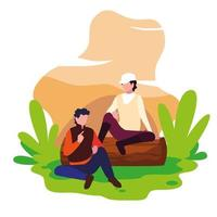 jeune couple se reposant sur une remorque