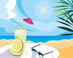 boisson au citron sur la plage