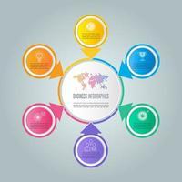 concept d'entreprise de conception infographique avec 6 options, pièces ou processus.