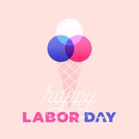 Carte heureuse de crème glacée de fête du travail