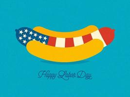 Carte de voeux de fête du travail de Hot-Dog USA vecteur