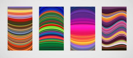 Ensemble coloré de motif de lignes courbes vecteur