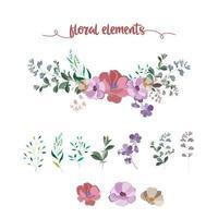 collection d'éléments floraux vecteur