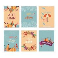 Collection de cartes d'automne vecteur