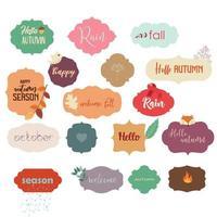 Insignes de carte de voeux automne avec des éléments de texte vecteur