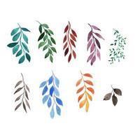 ensemble de feuilles et de branches d'aquarelle vecteur