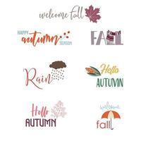 Éléments de carte de voeux automne avec des citations vecteur