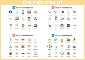 60 jeu d'icônes d'affaires vecteur
