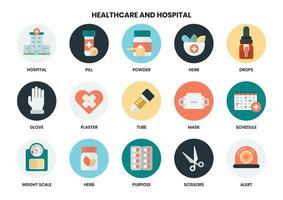 Ensemble d'icônes d'hôpital et de soins de santé vecteur