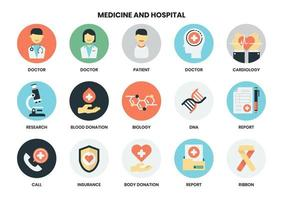 Ensemble d'icônes de l'hôpital vecteur