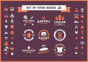 Set de badges restaurant et nourriture vecteur