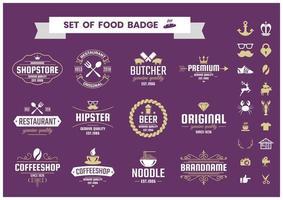Set de badges alimentaires vecteur