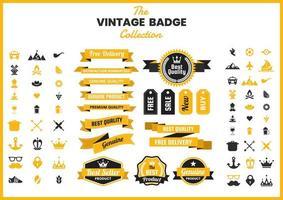 Collection d'insignes vintage dorés vecteur