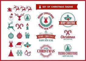 Set d'insignes de Noël rétro vecteur