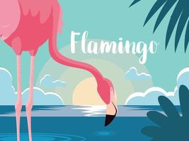 bel oiseau flamant rose se tenir dans le paysage vecteur