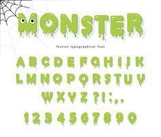 Police de monstre mignon Halloween pour les enfants vecteur