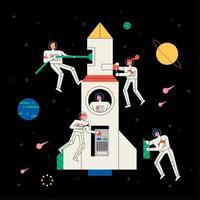 Astronautes et femmes spatiales réparant des vaisseaux vecteur