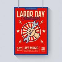 Modèle d'Affiche de musique de célébration de la fête du travail vecteur