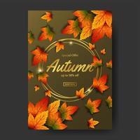 Automne chute laisse modèle vente événement vente affiche affiche promotion avec cercle d'or vecteur