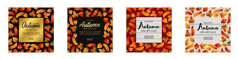 Ensemble de bannières de vente automne vecteur
