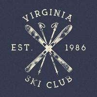 Étiquette de club de ski de sports d'hiver vintage vecteur