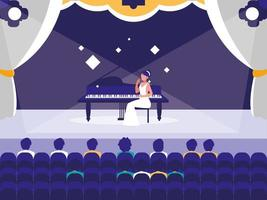 scène avec spectacle de pianiste vecteur