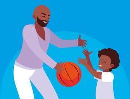 Père jouant au basket avec son fils vecteur