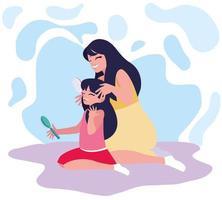 Mère se brosser les cheveux des filles vecteur