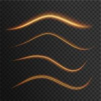 Ensemble d'effets de lumière dorés ondulés transparents vecteur